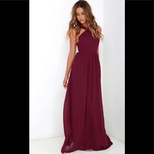Lulus Air of Romance Burgundy Maxi Dress